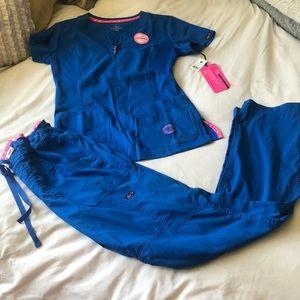 Royal blue koi lite scrub set.